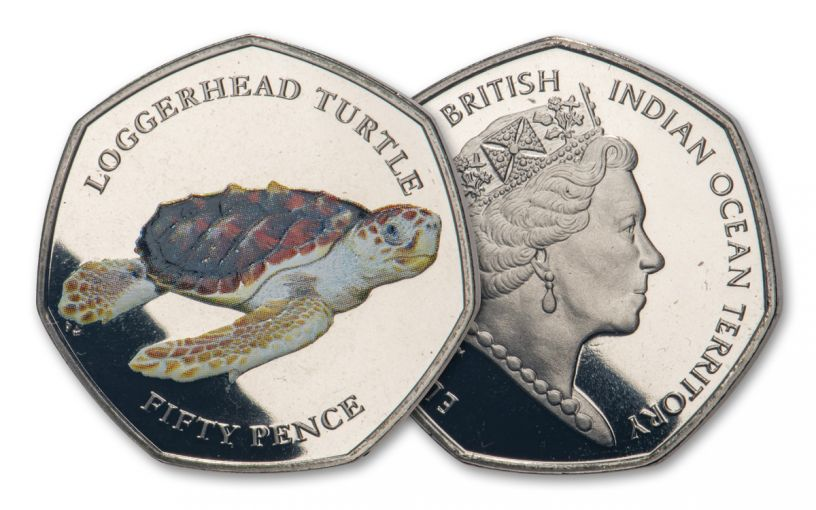 2019 BIOT 50-Pence 8-gm CuNi Loggerhead Turtle Colorized Proof