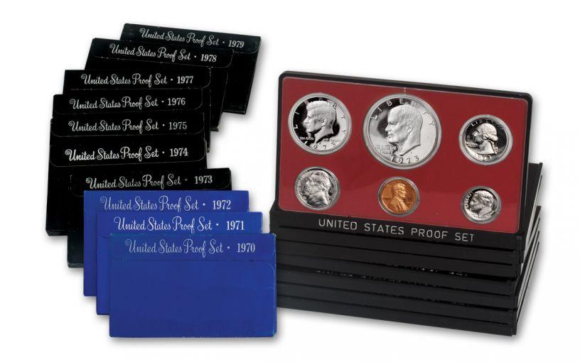 10PC 1970-1979 U.S. PROOF SET COLLECTION W/3PC 76