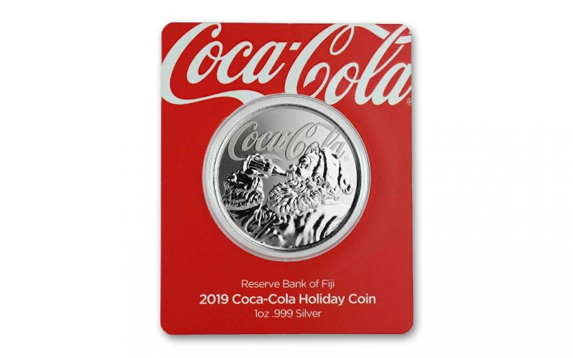 2019 Fiji $1 1-oz Silver Coca-Cola Santa Holiday Proof-Like Coin