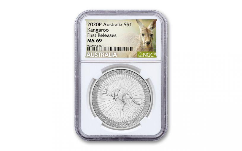 2020 Australia $1 1-oz Silver Kangaroo NGC MS69 First Releases w/Kangaroo Label