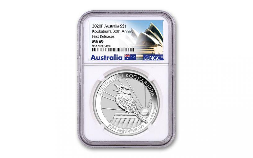 2020 Australia $1 1-oz Silver Kookaburra NGC MS69 First Releases w/Opera House Label