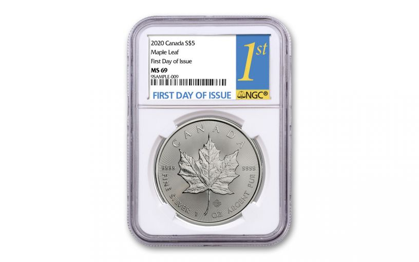 2020 Canada $5 1-oz Silver Maple Leaf NGC MS69 First Day of Issue