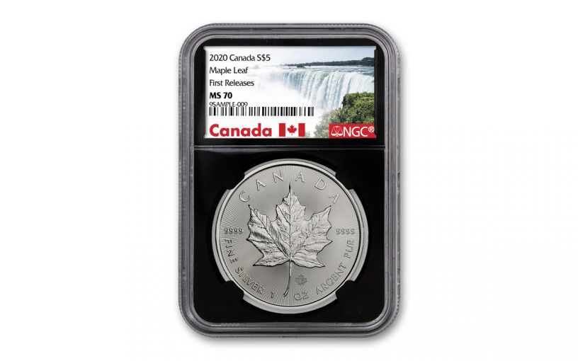 2020 Canada $5 1-oz Silver Maple Leaf NGC MS70 First Releases w/Black Core & Canada Label