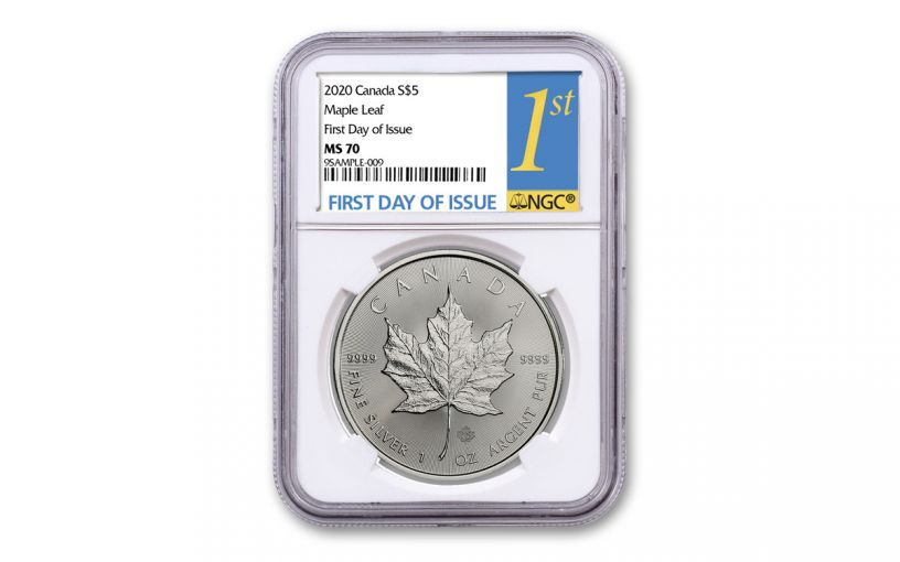 2020 Canada $5 1-oz Silver Maple Leaf NGC MS70 First Day of Issue