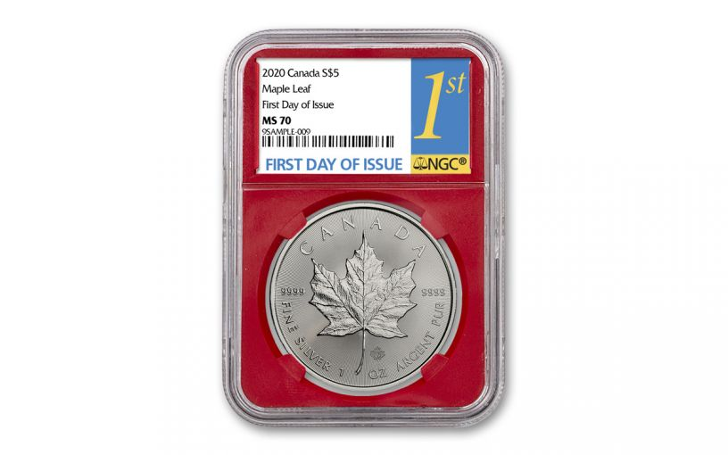 2020 Canada $5 1-oz Silver Maple Leaf NGC MS70 First Day of Issue w/Red Core
