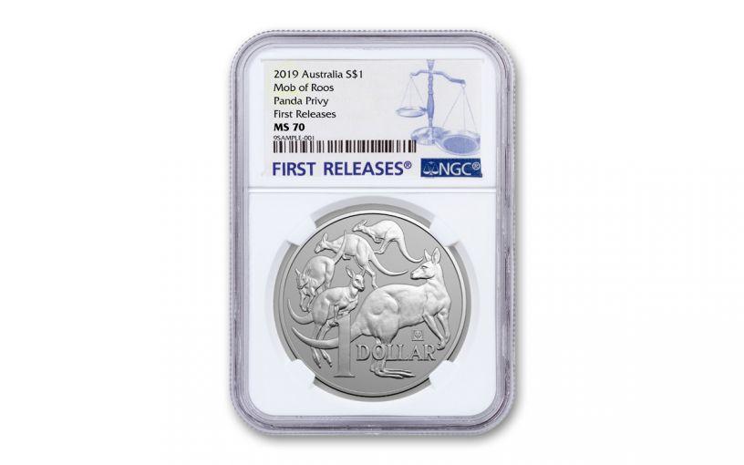 2019 Australia $1 1-oz Silver Beijing Coin Show Kangaroo NGC MS70 First Releases w/Panda Privy Mark