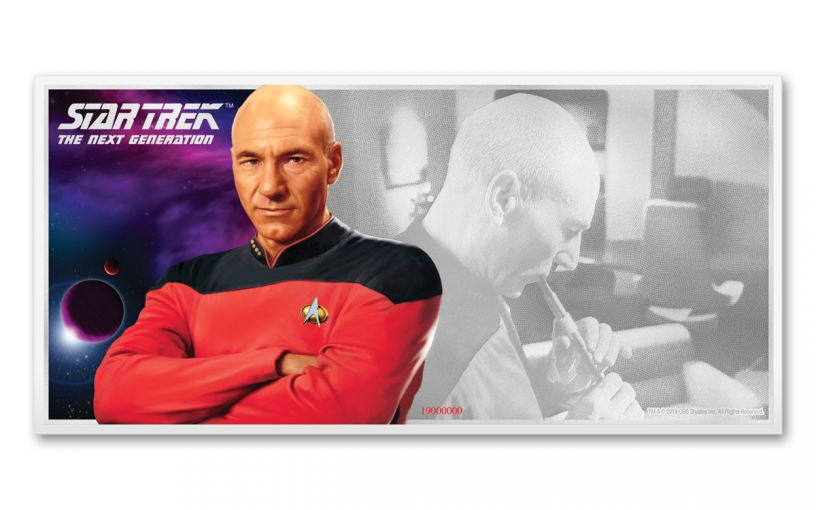 2019 Niue $1 5-gm Silver Foil Star Trek Captain Picard Coin Note