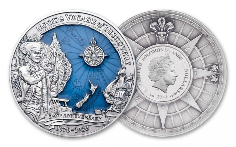 2020 Solomon Islands $10 3-oz Silver Captain Cook 250th Anniversary Ultra High Relief Antiqued Coin