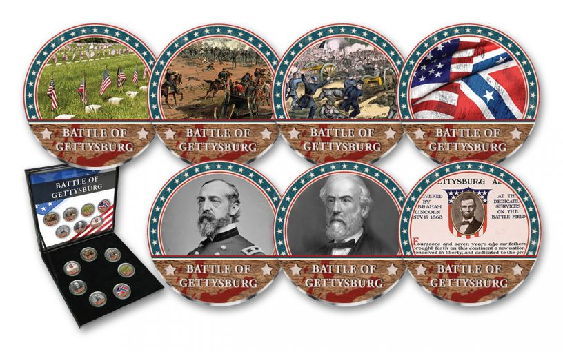 Cold Enamel Collection: Battle of Gettysburg 7-pc Uncirculated Set