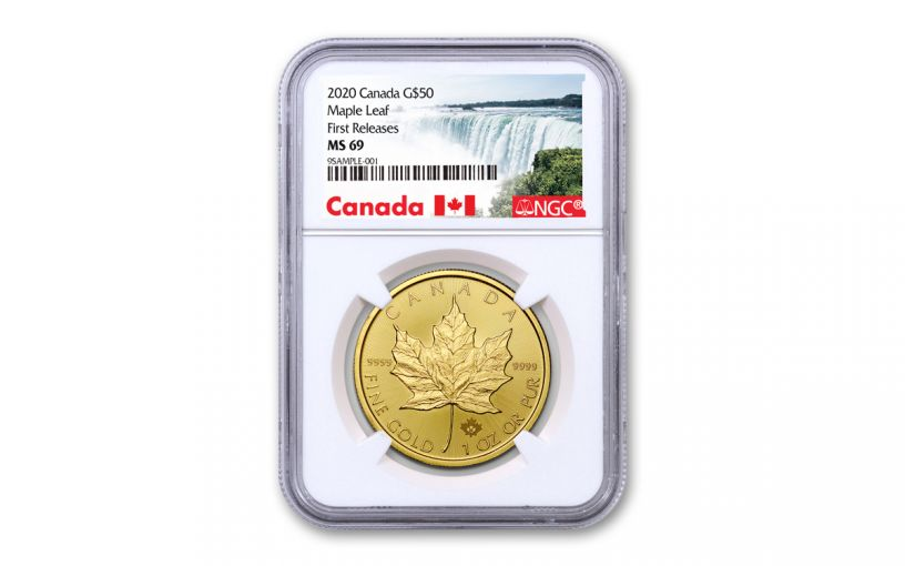2020 Canada $50 1-oz Gold Maple Leaf NGC MS69 First Releases w/Canada Label
