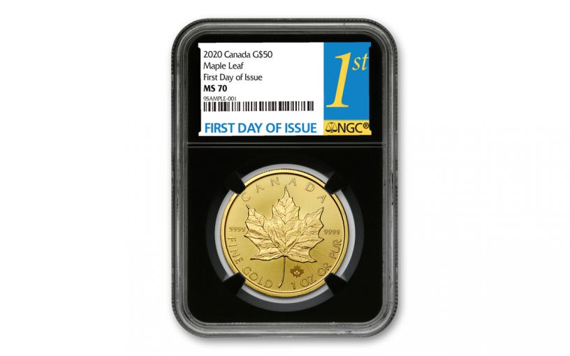 2020 Canada $50 1-oz Gold Maple Leaf NGC MS70 First Day of Issue w/Black Core