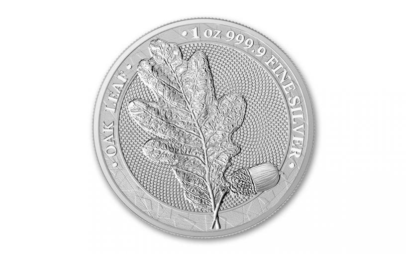 2019 Germania Mint 1-oz Silver Oak Leaf Medal BU