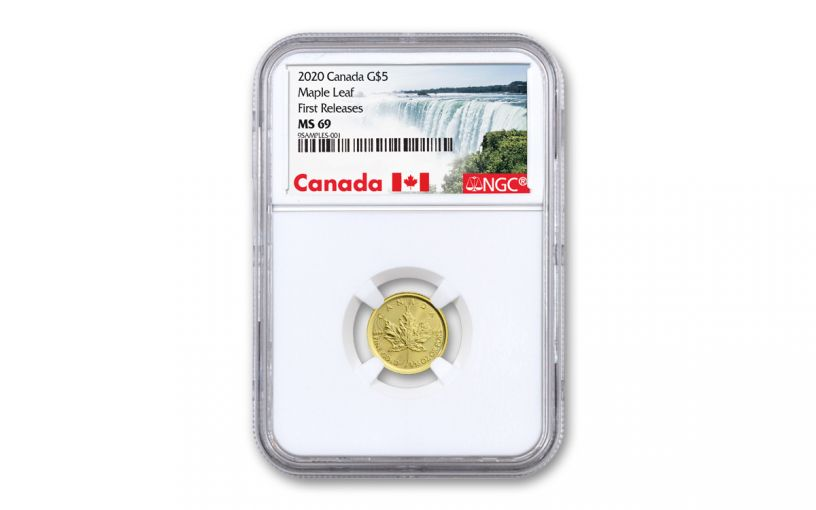 2020 Canada $5 1/10-oz Gold Maple Leaf NGC MS69 First Releases w/Canada Label