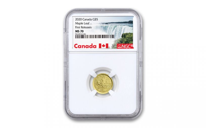 2020 Canada $5 1/10-oz Gold Maple Leaf NGC MS70 First Releases w/Canada Label