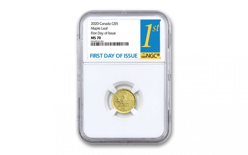 2020 Canada $5 1/10-oz Gold Maple Leaf NGC MS70 First Day of Issue