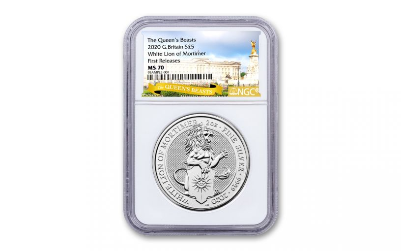 2020 Great Britain £5 2-oz Silver Queen's Beasts White Lion of Mortimer NGC MS70 First Releases