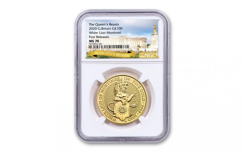 2020 Great Britain £100 1-oz Gold Queen's Beasts White Lion of Mortimer NGC MS70 First Releases