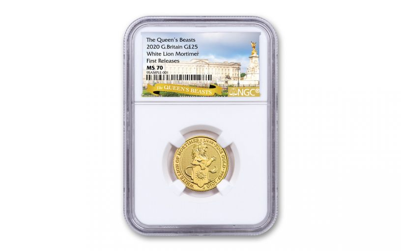2020 Great Britain £25 1/4-oz Gold Queen's Beasts White Lion of Mortimer NGC MS70 First Releases