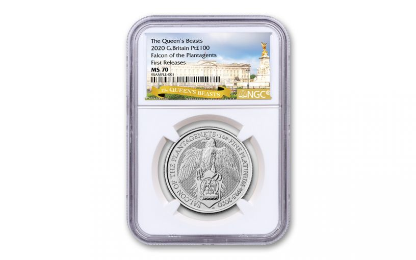 2020 Great Britain £10 10-oz Silver Queen's Beasts Falcon of the Plantagenets NGC MS70 First Releases