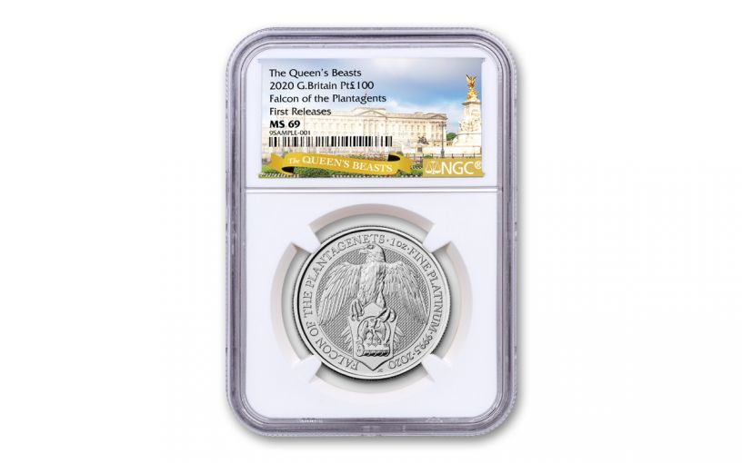 2020 Great Britain £10 10-oz Silver Queen's Beasts Falcon of the Plantagenets NGC MS69 First Releases