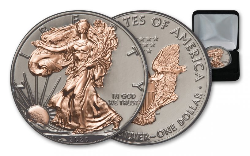 2020 $1 1-oz Silver American Eagle BU w/Black Ruthenium & Rose Gold