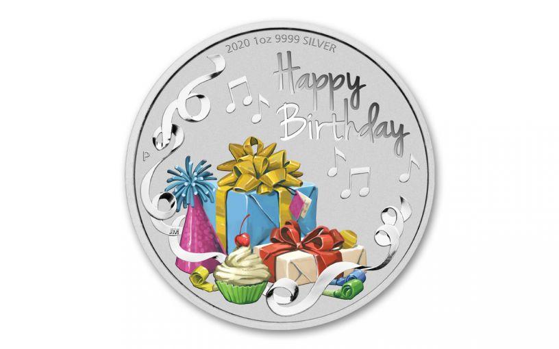 2020 Australia $1 1-oz Silver Happy Birthday Colorized Proof