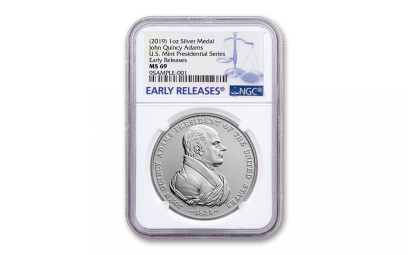 2019 1-oz Silver John Quincy Adams Presidential Medal NGC MS69 Early Releases