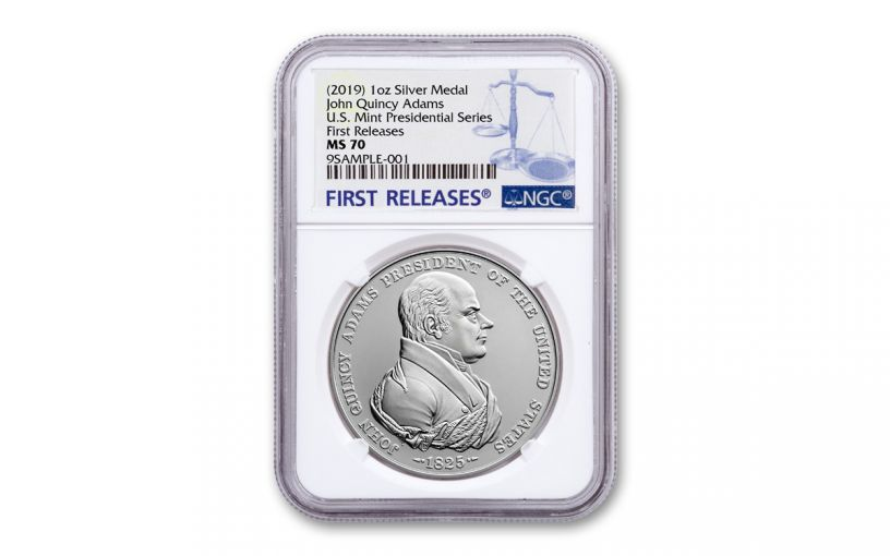 2019 1-oz Silver John Quincy Adams Presidential Medal NGC MS70 First Releases