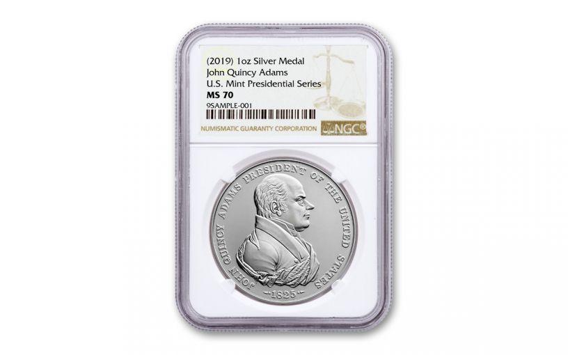 2019 1-oz Silver John Quincy Adams Presidential Medal NGC MS70