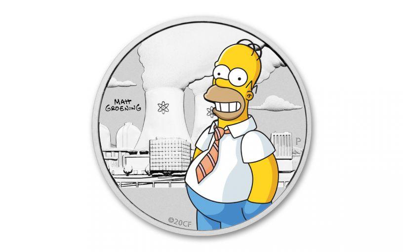 2020 Tuvalu 1/2-oz Silver Homer Simpson Half Dollar BU w/Card