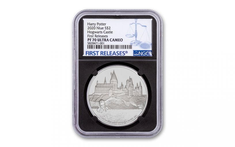 2020 Niue $2 1-oz Silver Harry Potter Hogwarts Proof NGC PF70UC First Releases w/Black Core