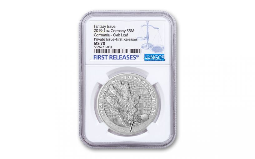 2019 Germania Mint 1-oz Silver Oak Leaf Medal NGC MS70 First Releases
