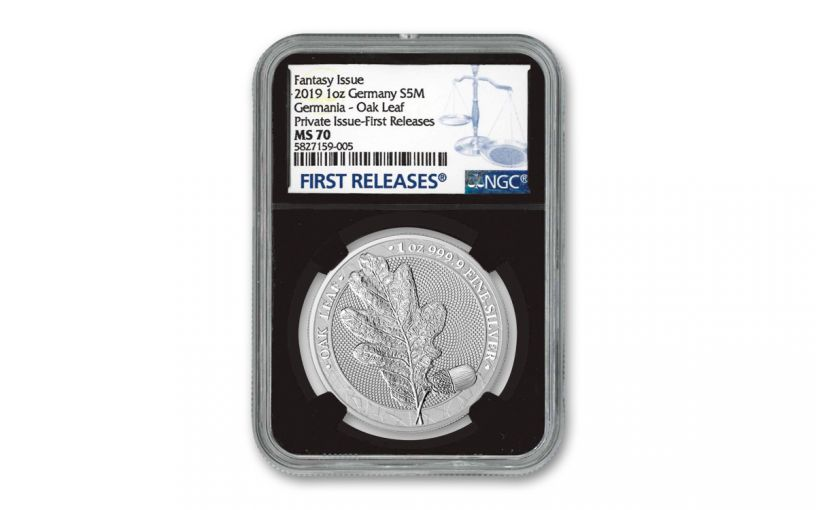 2019 Germania Mint 1-oz Silver Oak Leaf Medal NGC MS70 First Releases w/Black Core