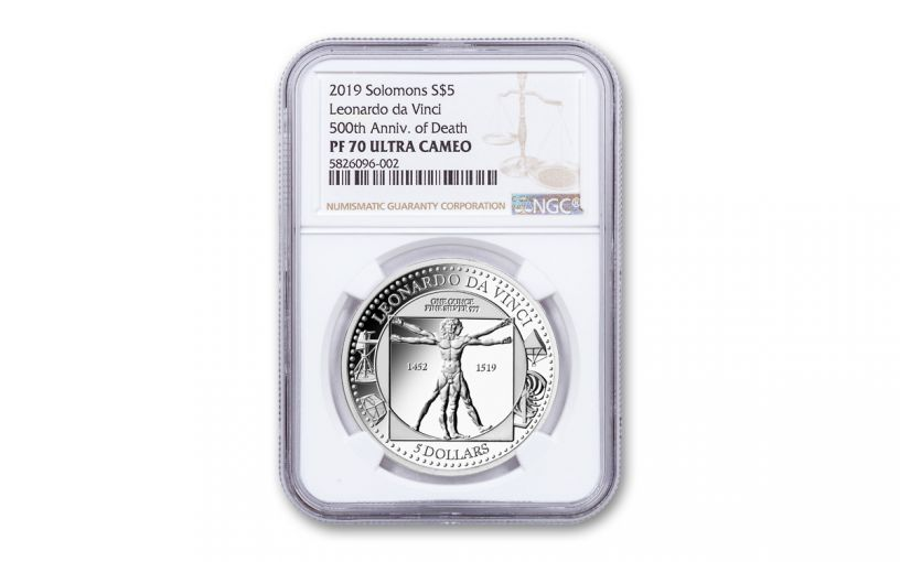 2019 Solomon Islands $5 1-oz Silver Leonardo da Vinci 500th Anniversary Proof NGC PF70UC