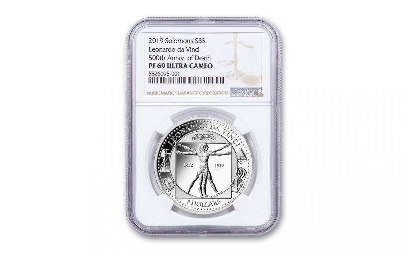 2019 Solomon Islands $5 1-oz Silver Leonardo da Vinci 500th Anniversary Proof NGC PF69UC