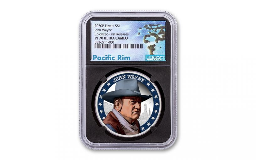 2020 Tuvalu $1 1-oz Silver John Wayne Colorized Proof NGC PF70UC First Releases w/Black Core & Pacific Rim Label