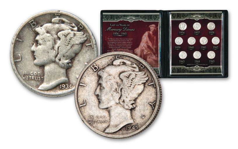 1936-1945 10 CENT MERCURY DIMES - LAST 10 YEARS