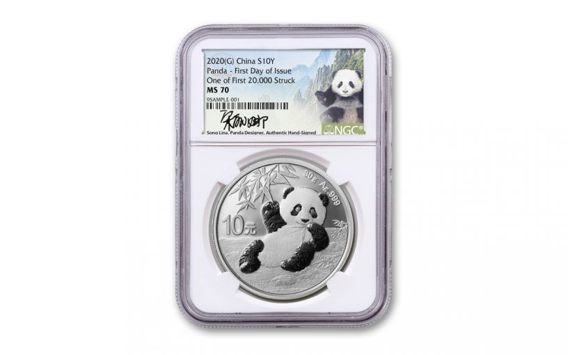 2020 China 30-gm Silver Panda NGC MS70 First Day of Issue w/Signed Label