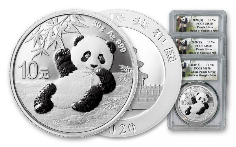 2020 China 30-gm Silver Panda PCGS MS70 3-Mint Set