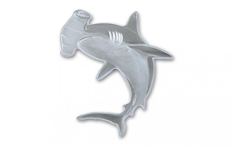 2020 Solomon Islands $2 1-oz Silver Hunters of the Deep Hammerhead Shark Shaped Reverse Proof
