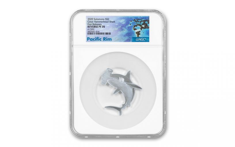 2020 Solomon Islands $2 1-oz Silver Hunters of the Deep Hammerhead Shark Shaped Reverse Proof PF70UC First Releases