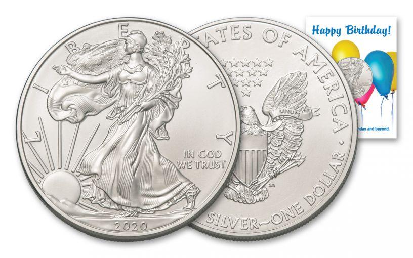 2020 $1 1-oz American Silver Eagle BU Birthday Balloons Card