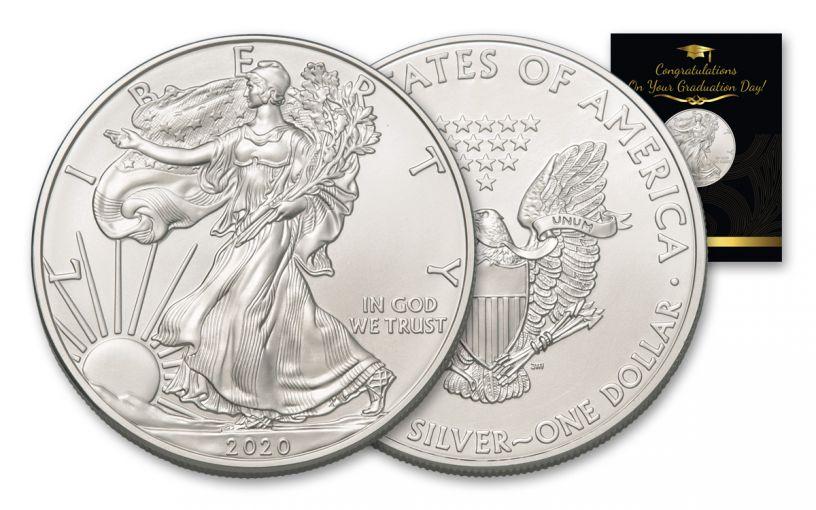 2020 $1 1-oz American Silver Eagle BU Graduation Card