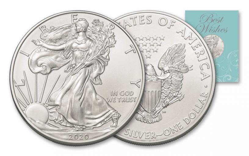 2020 $1 1-oz American Silver Eagle BU Best Wishes Card