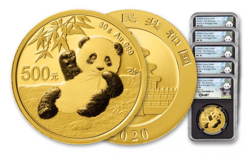 5PC CHINA 2020 GLD PANDA NGCMS70 FR SHANG LINA BC