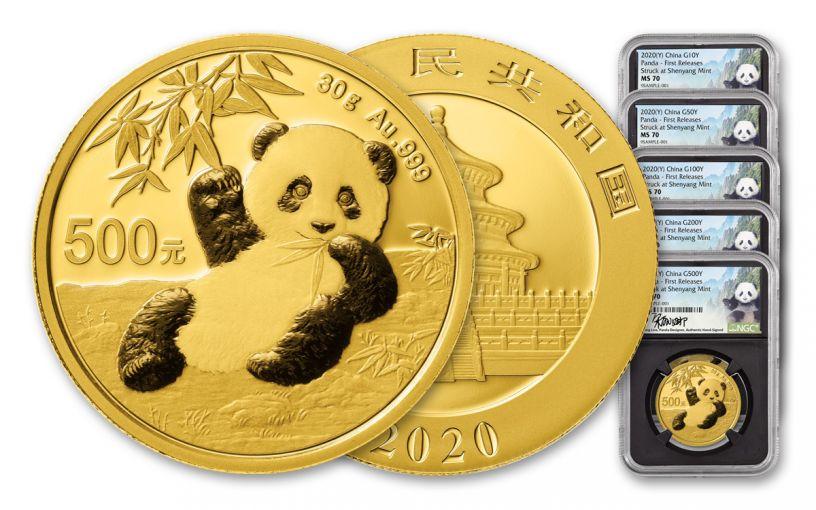 5PC CHINA 2020 GLD PANDA NGCMS70 FR SHY LINA BC