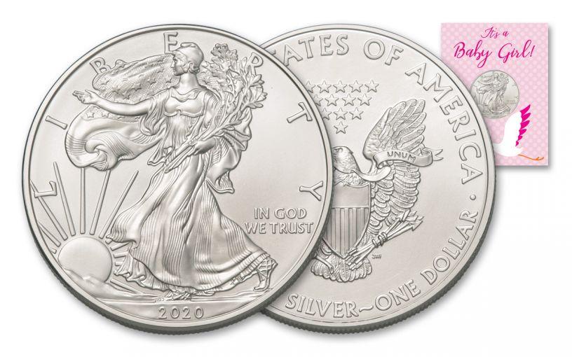 2020 $1 1-oz American Silver Eagle BU Baby Girl Card