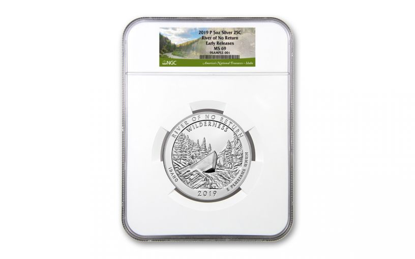 2019 5-oz Silver America the Beautiful – River of No Return NGC MS69 Early Releases
