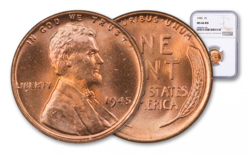 1945-P Lincoln Cent NGC MS66 Red