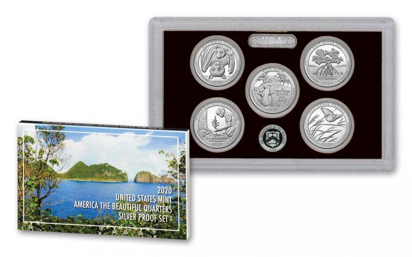 2020-S America The Beautiful 5-Piece Quarters Silver Proof Set